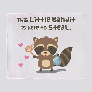 Cute Bandit Raccoon Heart Stealer Throw Blanket