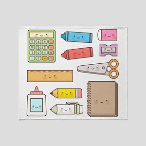 Cute and Colourful School Supplies Throw Blanket