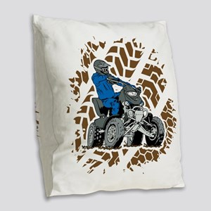 Off Road ATV 4X4 Burlap Throw Pillow