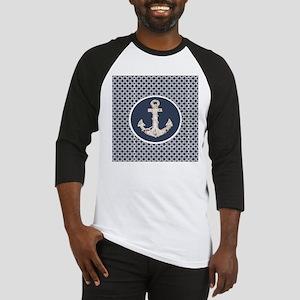 navy blue geometric pattern anchor Baseball Jersey