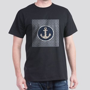 navy blue geometric pattern anchor T-Shirt