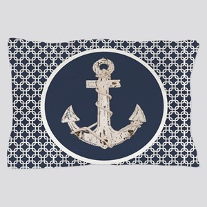navy blue geometric pattern anchor Pillow Case