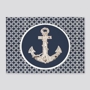navy blue geometric pattern anchor 5'x7'Area Rug