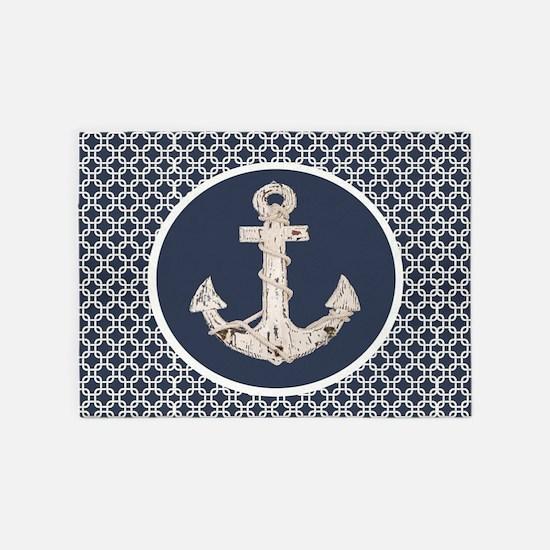 navy blue geometric pattern anchor 5'x7'Area Rug