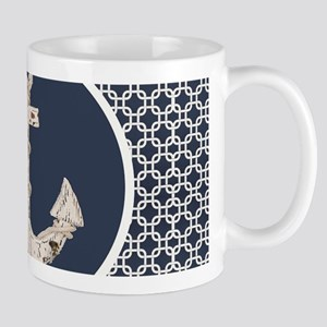 navy blue geometric pattern anchor Mugs