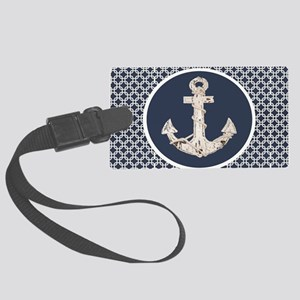 navy blue geometric pattern anch Large Luggage Tag