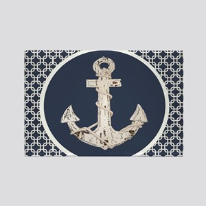 navy blue geometric pattern anchor Magnets
