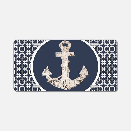 navy blue geometric pattern Aluminum License Plate