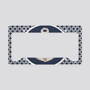 navy blue geometric pattern a License Plate Holder