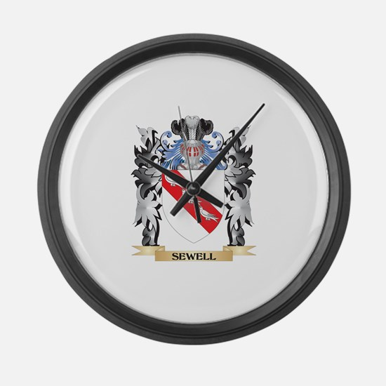 Sewell Coat of Arms - Family Cres Large Wall Clock