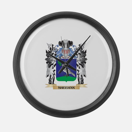 Sheehan Coat of Arms - Family Cre Large Wall Clock