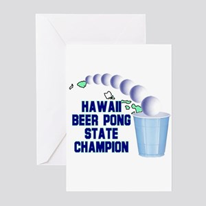 Hawaii Beer Pong State Champi Greeting Cards (Pk o
