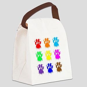Ink Splatter Dog Paw Pattern Canvas Lunch Bag