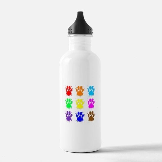Ink Splatter Dog Paw P Sports Water Bottle