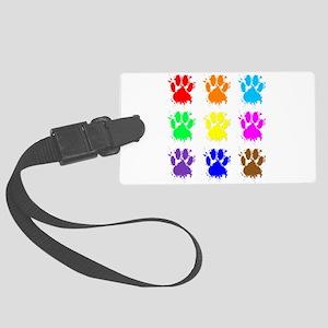 Ink Splatter Dog Paw Pattern Large Luggage Tag