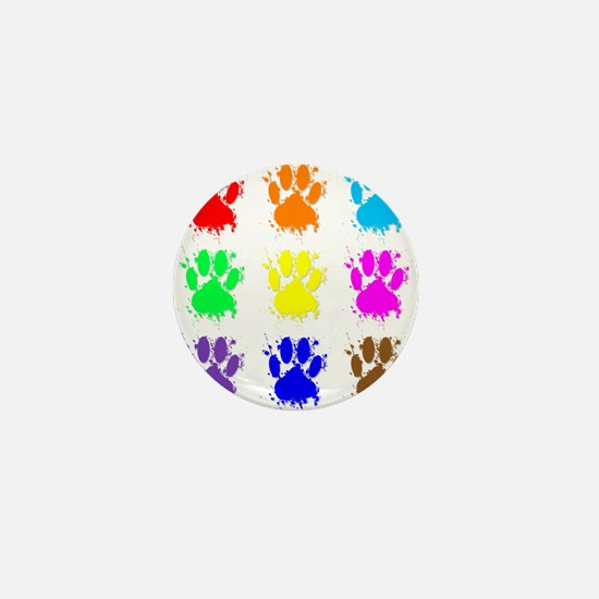 Ink Splatter Dog Paw Pattern Mini Button