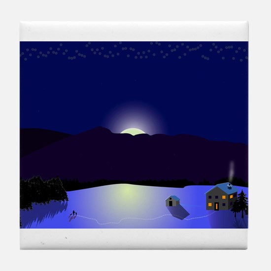 Vermont Winter Scene Tile Coaster