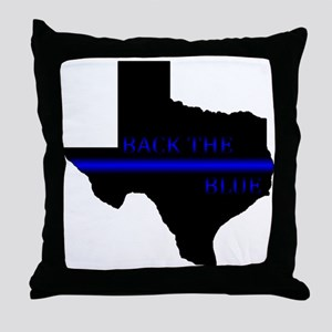 Thin Blue Line Back The Blue Texas Throw Pillow