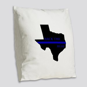 Thin Blue Line Back The Blue Texas Burlap Throw Pi