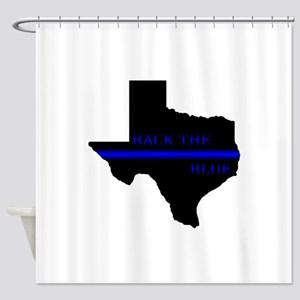 Thin Blue Line Back The Blue Texas Shower Curtain
