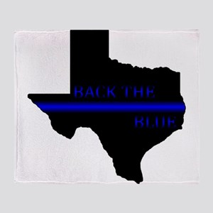Thin Blue Line Back The Blue Texas Throw Blanket