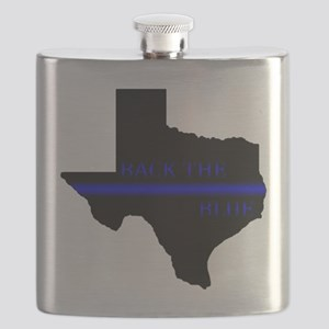 Thin Blue Line Back The Blue Texas Flask