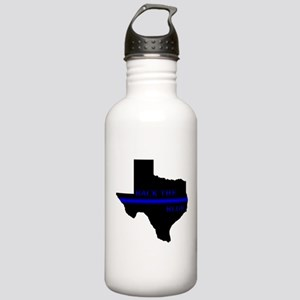 Thin Blue Line Back The Blue Texas Water Bottle
