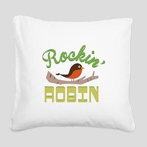 Rockin Robin Square Canvas Pillow