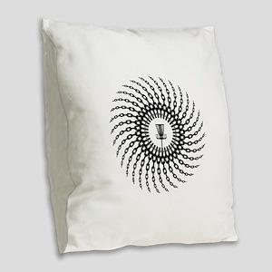 Disc Golf Basket Chains Burlap Throw Pillow