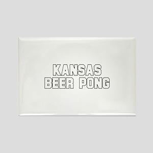 Kansas Beer Pong Rectangle Magnet