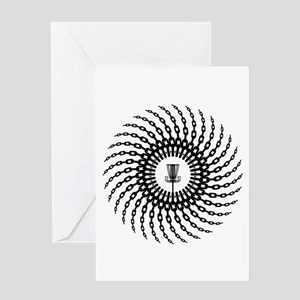 Disc Golf Basket Chains Greeting Cards