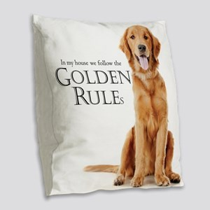 The Golden Rules Burlap Throw Pillow