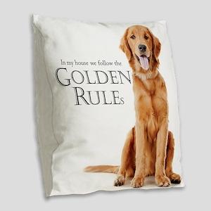 The Golden Rules Burlap Throw Pillow
