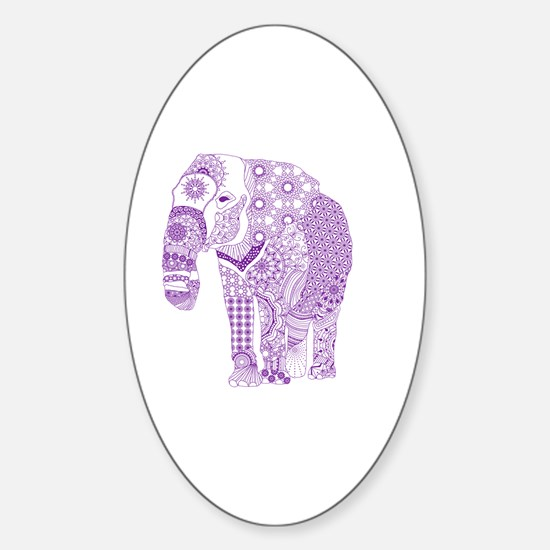 Tangled Purple Elephant  Sticker (Oval)