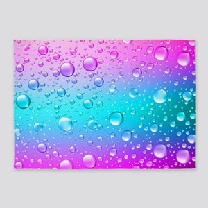 Hot Pink And Aqua Blue Gradient Wat 5'x7'Area Rug