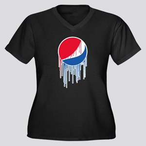 Pepsi Varsit Women's Plus Size V-Neck Dark T-Shirt