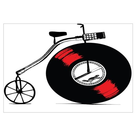 Record Bike & Penny Farthing Bike Wall Art - CafePress