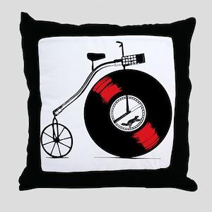 Record Bike Throw Pillow