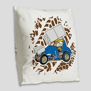 Sprint Car Racing Burlap Throw Pillow