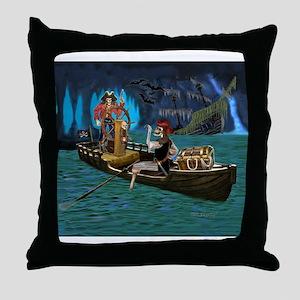 Skeleton Pirates Cave Throw Pillow