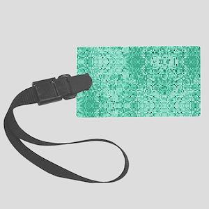 Mint Green Glitter Print Large Luggage Tag