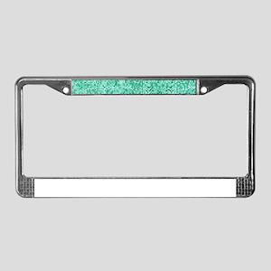 Mint Green Glitter Print License Plate Frame