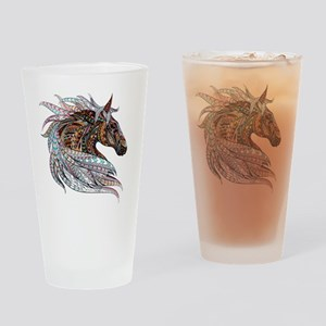 Warm colors horse drawing Drinking Glass