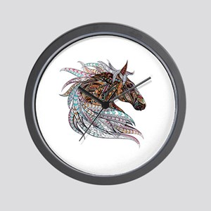 Warm colors horse drawing Wall Clock