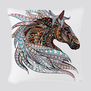 Warm colors horse drawing Woven Throw Pillow