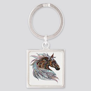 Warm colors horse drawing Square Keychain