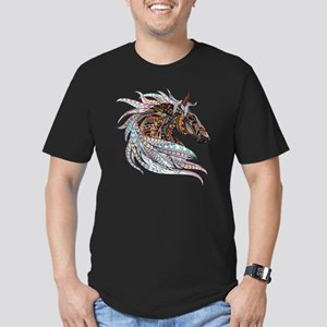 Warm colors horse draw Men's Fitted T-Shirt (dark)