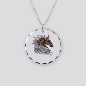 Warm colors horse drawing Necklace Circle Charm