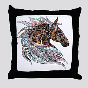 Warm colors horse drawing Throw Pillow
