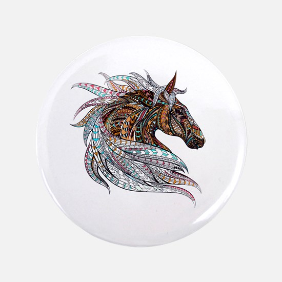 Warm colors horse drawing Button